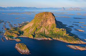 Aerial view of islands, islets and skerries, scattered in a wide strandflat. Lovund, Helgeland Archipelago, Norway. July.  -  Orsolya Haarberg