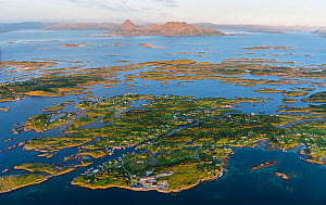 Aerial view of islands, islets and skerries, scattered in a wide strandflat. Sleneset, Helgeland Archipelago, Norway. July.  -  Orsolya Haarberg
