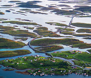 Aerial view of islands, islets and skerries, scattered in a wide strandflat. Brasoya, Helgeland Archipelago, Norway. July.  -  Orsolya Haarberg