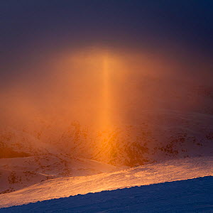 Sun pillar (optical phenomenon) that appears against the setting sun in light snow. Sognefjellet, Norway. April.  -  Orsolya Haarberg