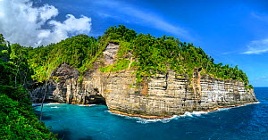 Glassy Point, East Coast of Dominica, West Indies. A picturesque area popular with visitors. December 2019. Stitched panorama.  -  Derek Galon