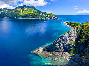 Aerial view of Scotts Head, Dominica, West Indies. On left side is Caribbean Sea, on right side, Atlantic Ocean. November 2019. Drone photo, stitched panorama.  -  Derek Galon