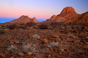Rocky desert landscape in Spitzkoppe at dawn, Damaraland, Namibia, August  -  Oriol  Alamany