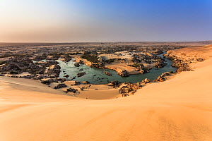 The Kunene River is the natural border between Namibia (south) and Angola (north). The Kunene River stops the sand dunes coming from the south, pushed by the strong wind. Skeleton Coast National Park,... - Christophe Courteau