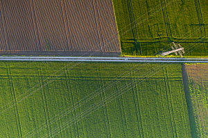 Aerial view of intensively farmed fields, a straight road and electricity pylons and lines, Switzerland  -  Laurent Geslin