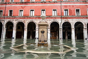 Fountain and flooding in Venice, Italy, December 2019.  -  Milan Radisics