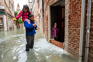 Man carrying child on shoulders during flooding in Venice, Italy, December 2019.  -  Milan Radisics