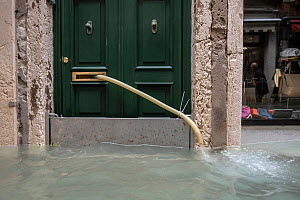 Pipe pumping out water from house during flooding in Venice, Italy, December 2019.  -  Milan Radisics