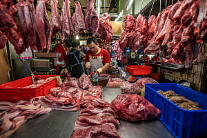 Vendors chop slabs of meat and hang them for sale at a wet market in Taipei, Taiwan. - Jo-Anne McArthur / We Animals