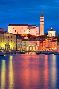 The waterfront of Piran illuminated at dusk, Slovenia, March 2008  -  Guy Edwardes