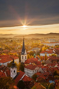 View over Ljubljana (capital of Slovenia) from Castle Hill at sunset Slovenia, October.  -  Guy Edwardes