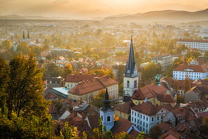 View over Ljubljana from Castle Hill at sunset, Slovenia, October 2014.  -  Guy Edwardes