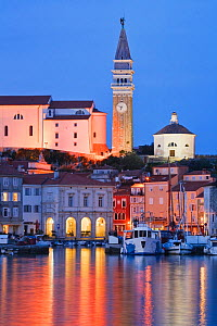 Piran harbour at dusk, Gulf of Piran on the Adriatic Coast, Slovenia, Europe  -  Guy Edwardes