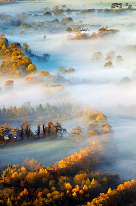 Misty Morning over Derwent Valley from Latrigg Lake District National Park, Cumbria, England  -  Guy Edwardes