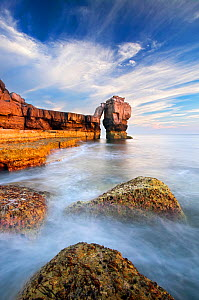 Limestone Sea Stack at Portland Bill on the Isle of Portland, Jurassic Coast, Dorset, England, UK.  -  Guy Edwardes