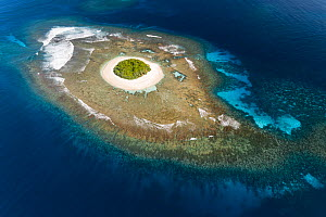 Aerial view of Lua Loli Island showing the extent of the underwater coral reef, Vava'u Island Group, Kingdom of Tonga, South Pacific Ocean September 2019.  -  Tony Wu