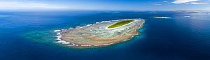 Aerial panorama of Taula Island with the underwater coral reef clearly visible. The smaller island immediately behind it is Lua Lole island, Vava'u island group, Kingdom of Tonga, South Pacific. Septe...  -  Tony Wu