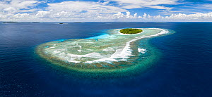 Aerial panorama of Fonua'one'one Island in the Vava�u island group of the Kingdom of Tonga, South Pacific. The island and white sand beach visible from a boat at sea level represents only a small frac...  -  Tony Wu