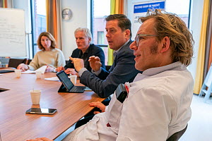 Intensivist doctor in a meeting with managers to monitor the response of the Jeroen Bosch Ziekenhuis to the Covid-19 pandemic. March 2020. EDITORIAL USE ONLY.  -  David Pattyn