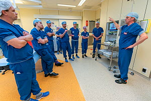Anesthesia nurse instructing anesthesiologists on the use of the intubating room. This room was created especially to intubate Covid-19 infected patients Jeroen Bosch Ziekenhuis, Den Bosch, 's He...  -  David Pattyn
