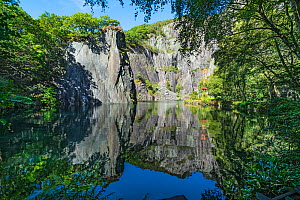 The pool at the Vivian Quarry section of the disused Dinorwic Slate Quarry used for scuba diving Llanberis, North Wales, UK, September.  -  Alan Williams