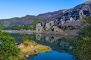 Dinorwic disused slate quarry viewed across Llyn Peris Reservoir Llanberis North Wales, UK, September 2019.  -  Alan Williams