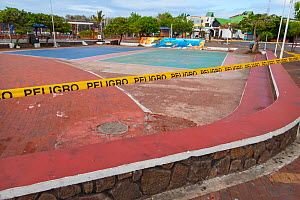 Puerto Ayora, during Covid-19 lockdown, deserted park, normally crowded with tourists and locals, Santa Cruz Island, Galapagos Islands April 2020  -  Tui De Roy