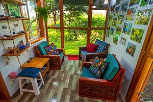 Plywood seats made with routered decorations in photographer Tui De Roy's home. Taken during Covid-19 lockdown. Santa Cruz Island, Galapagos Islands April 2020  -  Tui De Roy