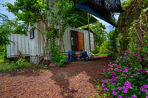 Photographer Tui De Roy's tiny house consisting of three 20ft shipping containers, Santa Cruz Island, Galapagos Islands April 2020  -  Tui De Roy