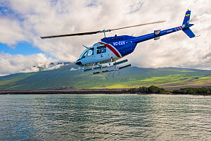 Helicopter support, brought by ship from mainland Ecuador, was vital to the success of the Wolf expedition Wolf Volcano, Isabela Island, Galapagos  -  Tui De Roy