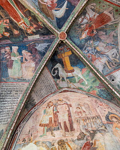 Fresco (note stylized elephant) in the Cloister of the Bressanone Cathedral, Brixen, Dolomites, Italy, October.  -  John Shaw