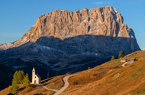Chapel at Passo Gardena with Sasso Lungo in the background, early morning, Dolomites, Italy, October 2019.  -  John Shaw