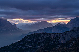 Mountains at sunrise, looking toward Cortina valley, from Passo Giau. Dolomites, Italy. October 2019.  -  John Shaw