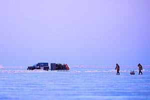 Fishermen travelling on back of sled, pulled by car after ice fishing. Lake Peipsi, Tartumaa County, Estonia. February.  -  Sven Zacek