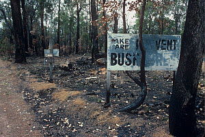 Fire prevention sign 'TAKE CARE, PREVENT BUSHFIRES' burnt in a prescribed burn. Darling Range, Western Australia. October 1999.  -  Marie Lochman