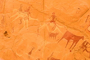 Ancient cave paintings showing people riding camels and cattle. Ennedi Natural and Cultural Reserve, UNESCO World Heritage Site, Chad. September 2019.  -  Enrique Lopez-Tapia
