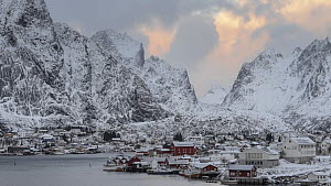 Timelapse of clouds moving over the fishing village of Reine, Lofoten Islands, Norway, November 2019.  -  Erlend Haarberg
