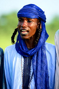 Man from Wodaabe nomadic tribe attending Gerewol festival, a gathering of different clans in which women choose a husband. Chad, Sahel, Africa. 2019.  -  Enrique Lopez-Tapia