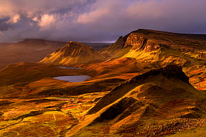 The Quiraing in golden morning light, eastern face of Meall na Suiramach, the northernmost summit of the Trotternish on the Isle of Skye, Scotland, UK. November.  -  Ross Hoddinott