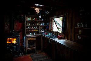 Kitchen of the Emily and and Sharon Small, and home of the Goongerah Wombat Orphonage. Goongerah, Victoria, Australia. February, 2020. Editorial use only.  -  Doug Gimesy