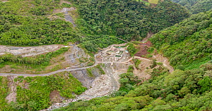 Rio Verde Chico Hydroelectric Project water intake, in rainforest. Rebuilt after extreme flooding of river due to abnormally heavy rainfall. Tungurahua province, Ecuador. December 2019.  -  Morley Read