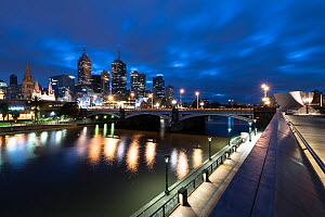 Melbourne cityscape at dawn, view of Yarra River and Princes Bridge, Melbourne city and Southbank. Victoria, Australia. May 2016.  -  Doug Gimesy