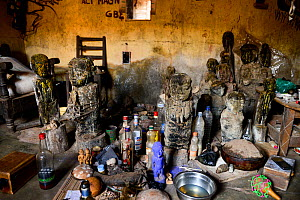 Fetishes for voodoo ceremonies at the home of one of the main healers / azetos of Abomey. Djenan Temple, Benin, 2020.  -  Enrique Lopez-Tapia