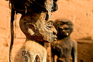 Wooden fetishes for voodoo ceremonies at the home of one of the main healers / azetos of Abomey. Benin 2020.  -  Enrique Lopez-Tapia