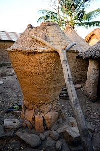 Traditional clay barn with wooden ladder propped against it. Taneka community, Benin, 2020.  -  Enrique Lopez-Tapia