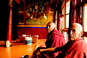 Lamas / monks sitting in Lingshed Gompa, a Buddhist monastery founded by the Gelupka order. At an altitude of 3850m. Zanskar, Ladakh, India. 2011.  -  Enrique Lopez-Tapia