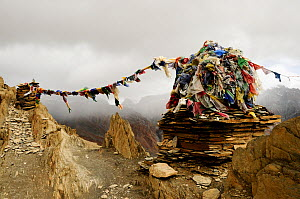 Buddhist chorten with prayer flags on the Hanuma La Pass at an altitude of 4710m, cloud shrouded mountains in background. Ladakh, India. September 2011.  -  Enrique Lopez-Tapia