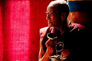 Monk / lama in religious ceremony at Karsha Gompa Buddhist monastery, founded in the 10th Century. At 3650m altitude. Padum Valley, Zanskar, Ladakh, India. 2011.  -  Enrique Lopez-Tapia