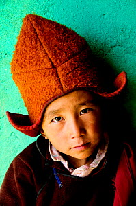 Young novice, portrait. School of the Karsha Gompa, a Buddhist monastery at 3650m altitude founded in the 10th Century. Padum Valley, Zanskar, Ladakh, India. 2011.  -  Enrique Lopez-Tapia