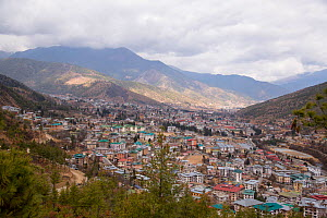 Thimphu city and the Wang Chuu valley, surrounded by mountains. Bhutan. February 2019.  -  Ashish & Shanthi Chandola